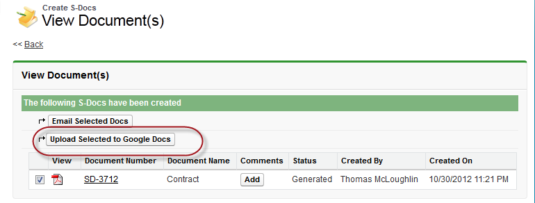 Using Google Drive - S-Docs for Salesforce