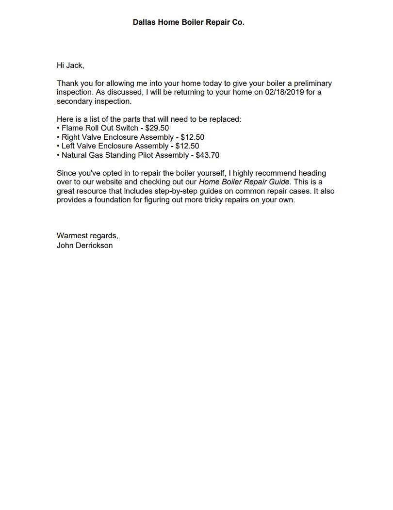 boiler inspection follow-up letter