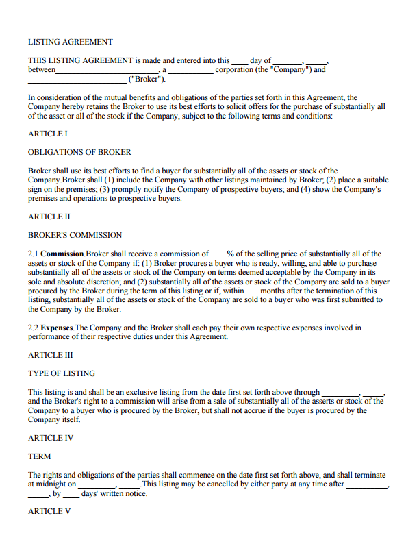 Real Estate Property Listing Agreement S Docs For Salesforce