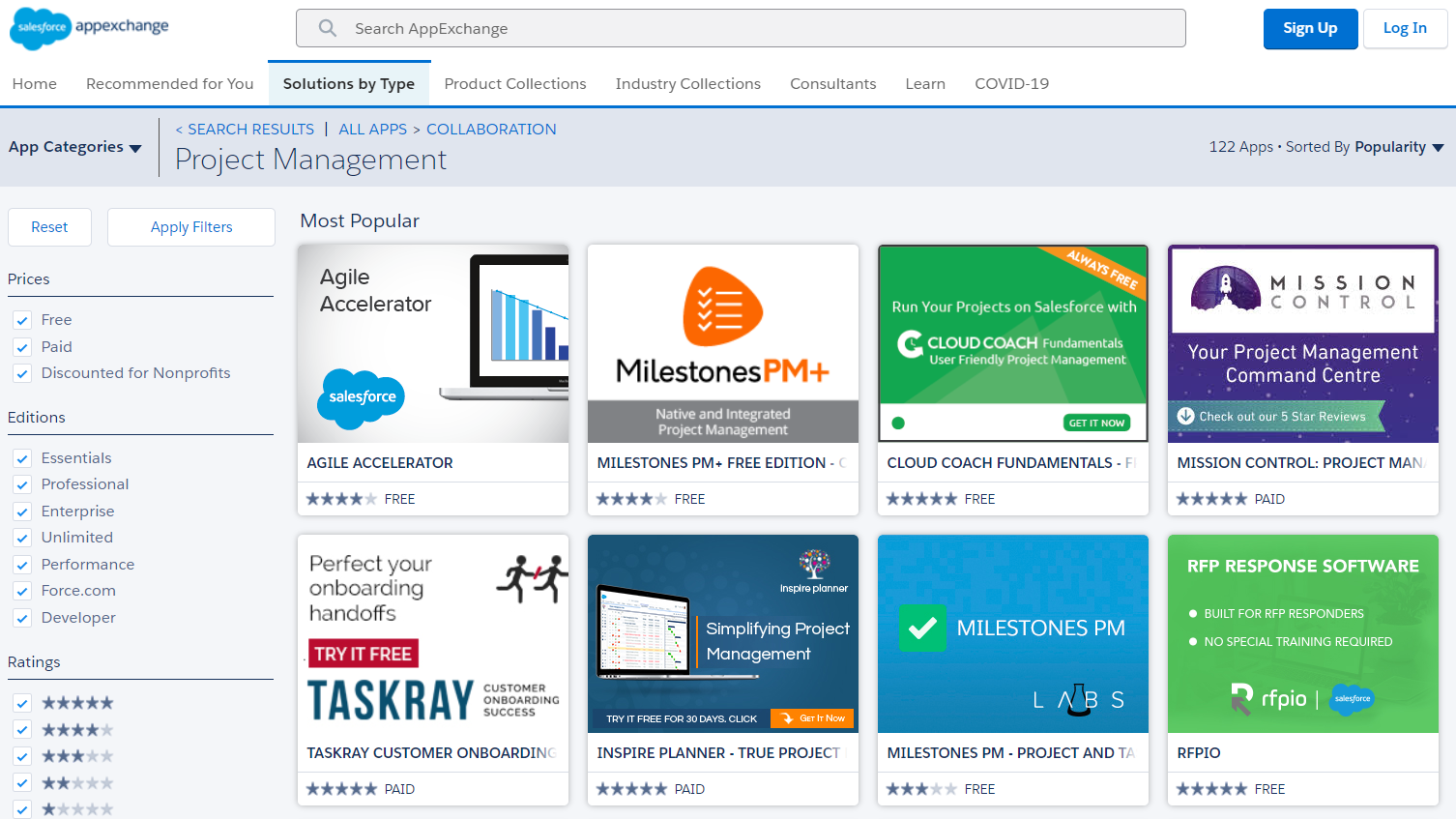 A view of project management apps on the Salesforce AppExchange