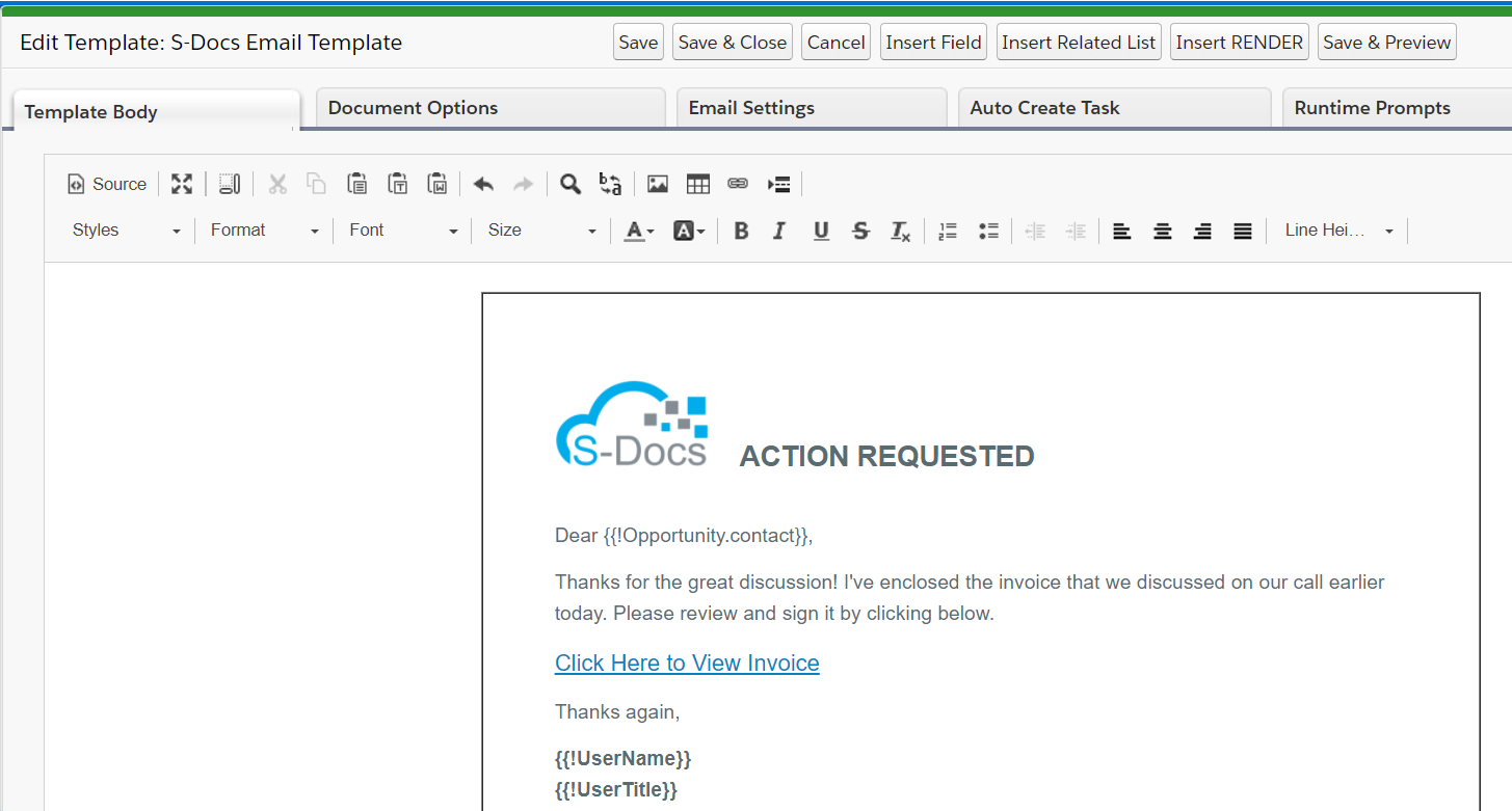 Designing a custom HTML email template in the S-Docs template editor
