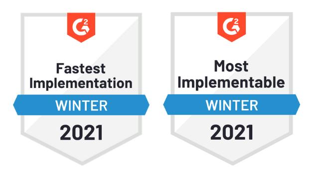 S-Docs G2 Badges for Fastest Implementation