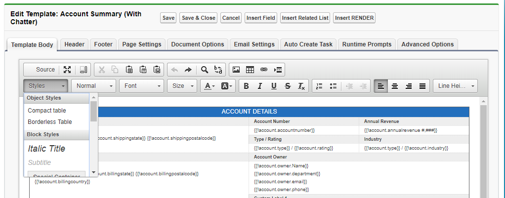 The S-Docs Template Editor - S-Docs for Salesforce